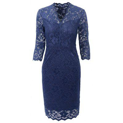 Hot Sale 2018 Embroidery  Women 3/4 Sleeve Casual Evening Party Lace  Sheath Shift   Dress