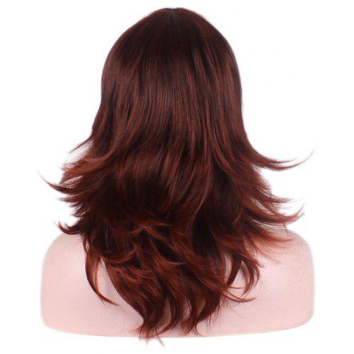 Women Hot Jujube Red Side Parting Long Curly Hair Beautiful Fashion