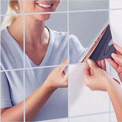 9PCS Square Mirror Tile Wall Stickers 14.8cm x 14.8cm 3D Decal Mosaic Home Room Decoration DIY for Living Room Porch