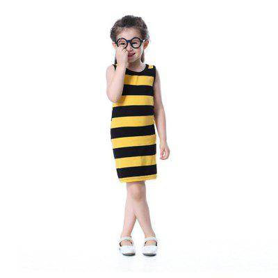 New Girl in Yellow and Black Striped Package Hip Dress