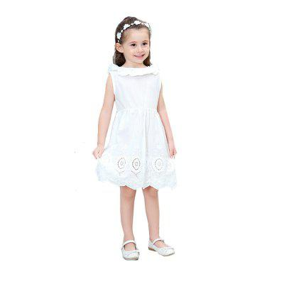 Spring Girl V Cotton Lace Halter Dress Exquisite Bow Pure White Wavy Skirt