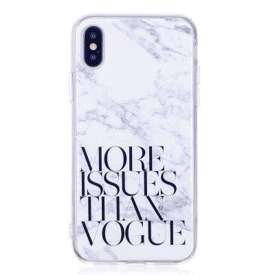 TPU Soft Case for iPhone X Letter Marble Style Back Cover