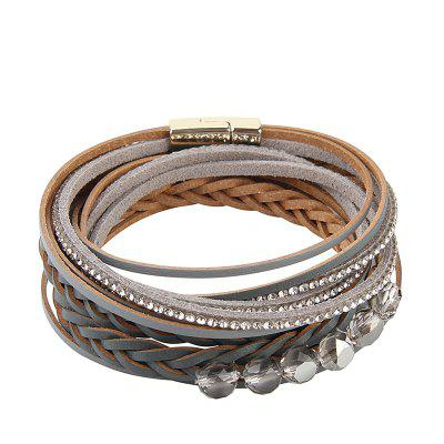 New Fashion Summer Wind Multi Level Magnet Cowhide Knitted Crystal Beads Hand Chain