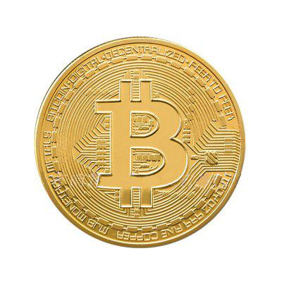 2PC Gold Plated Bitcoin Coin Collectible Gift BTC Art Collection Physical
