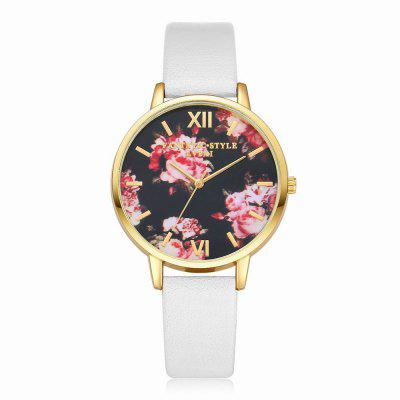 Lvpai P086-G Women Fashion Leather Band Flowers Dial Quartz Watches fashion leather watches for women analog watches elegant casual major wristwatch clock small dial mini hot sale wholesale