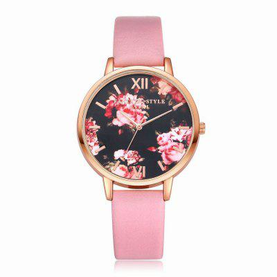 Lvpai P086-R Women Fashion Leather Band Flowers Dial Quartz Watches fashion leather watches for women analog watches elegant casual major wristwatch clock small dial mini hot sale wholesale