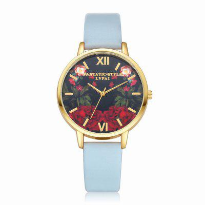 Lvpai P087-G Women Fashion Leather Band Flowers Dial Quartz Watches fashion leather watches for women analog watches elegant casual major wristwatch clock small dial mini hot sale wholesale