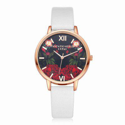 Lvpai P087-R Women Fashion Leather Band Flowers Dial Quartz Watches fashion leather watches for women analog watches elegant casual major wristwatch clock small dial mini hot sale wholesale