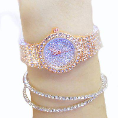 Fashion Women Rhinestone Rose Gold Dress Crystal Full Diamond Women'S Quartz Watch luxury style melissa lady women s watch rhinestone crystal fashion hours dress bracelet clock stars big girl birthday gift box