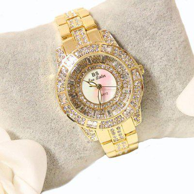 Top Quality Women Luxury Steel Full Rhinestone Wrist Lady Crystal Dress Gold Female Quartz Watch luxury style melissa lady women s watch rhinestone crystal fashion hours dress bracelet clock stars big girl birthday gift box