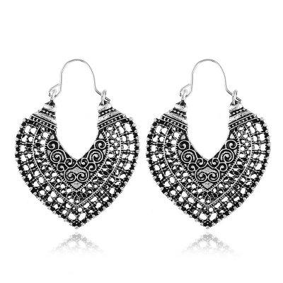 Novas jóias de moda Vintage Style Classic Oxidação Tratamento Black Plating National Pattern Mulheres Drop Earrings