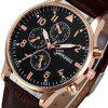 Leather Design Retro Leather Band Luxury Men Business Watch - BROWN