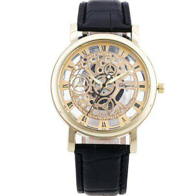 Genewa Speed ​​and Passion Gear Hollowed Watch Double Perspective Men Zegarek kwarcowy