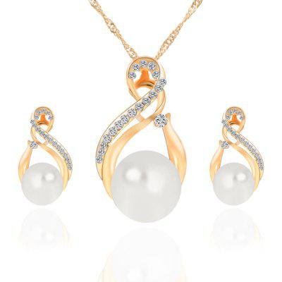 2PCS Damen Mode Kristall Diamant Ohrringe Halskette Schmuck