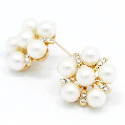 Alloy White Flower Round Earring for Women Wedding Party