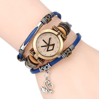 Mulheres Bracelet Rhinestones Inlay Dial Metal Decor Band Vintage Style Watch Accessory