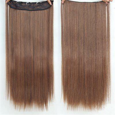 CHICSHE HAIR 23 inch Long Straight Women Clip in Hair Extensions Black Brown High Tempreture Synthetic Hairpiece fashion hair fiber braided bun twisted fake chignonn hairpiece clip buns toupee for women a18
