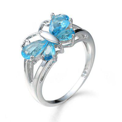 Ladies Fashion Butterfly Crystal Ring Jewelry