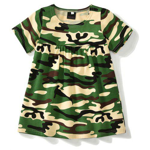 892af45fcbf New 2018 Summer Girl Dress Cute Baby Short Sleeve Camouflage Pattern Cotton  Kids Dress