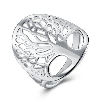 Women's Fashion Ring Delicate Carving Silver Plated Stylish Tree Design Finger Ring
