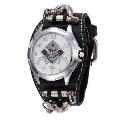 V5 Men Punk Retro Skeleton Skull Hip-Hop Bullet Wrist Watch