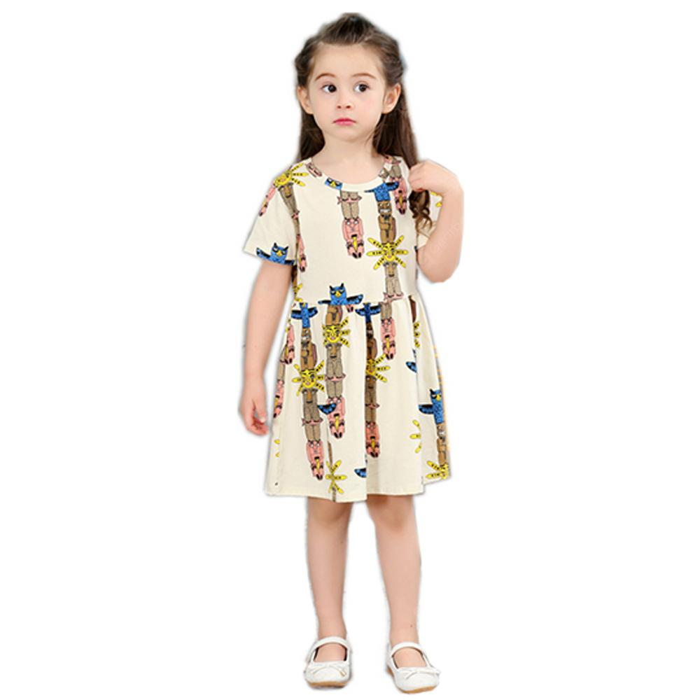 Girls Short Sleeve Round Collar Dress