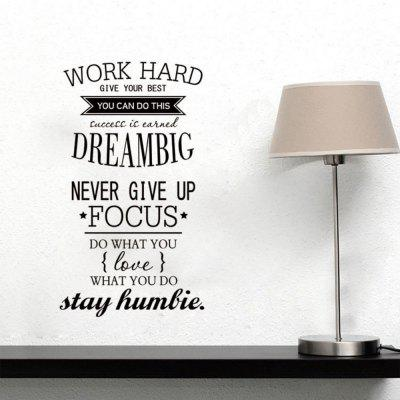 Work Hard Vinyl Quote Wall Stickers Motivational Decals for Kids Study