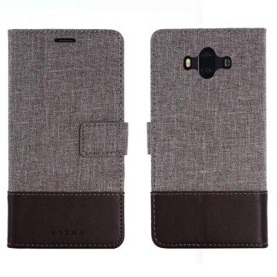 MUXMA Case Cover for Huawei Mate 10 Pure Color Vintage Canvas Texture PU Leather
