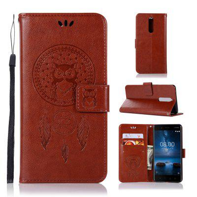 Owl Campanula Fashion Wallet Cover For Nokia 8 Case 5.3 Inch PU luxury Vintage Flip Leather Case Phone Bag With Stand