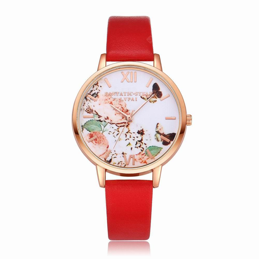 Lvpai P097-R Women Butterfly Dial Leather Band Wrist Watch