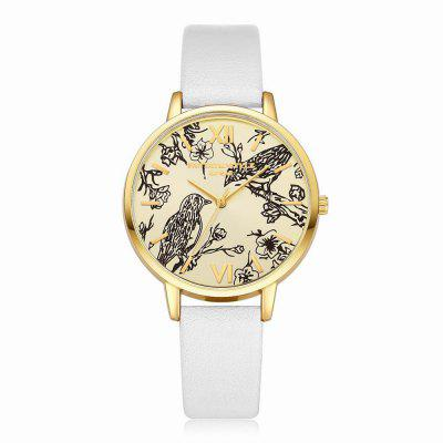 Lvpai P098 Women Leather Band Birds Dial Quartz Watches