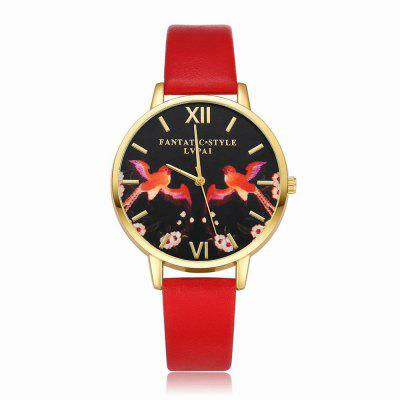 Lvpai P108-G Women Leather Band Birds Dial Quartz Watches
