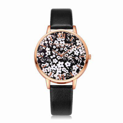 Lvpai P109-R Women Leather Strap Flowers Dial Quartz Watch Rose Gold Tone Bezel julius ja 739 women ladeis quartz watch round dial leather strap