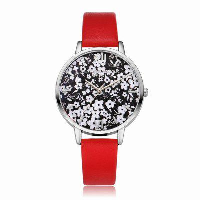 Lvpai P109-S Women Leather Strap Flowers Dial Quartz Watch Silver Tone Bezel julius ja 739 women ladeis quartz watch round dial leather strap