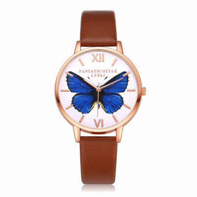 Lvpai P110-R Women Butterfly Dial Leather Band Quartz Watch Rose Gold Tone Bezel 40mm corgeut white sterile dial rose gold case miyota automatic mens watch