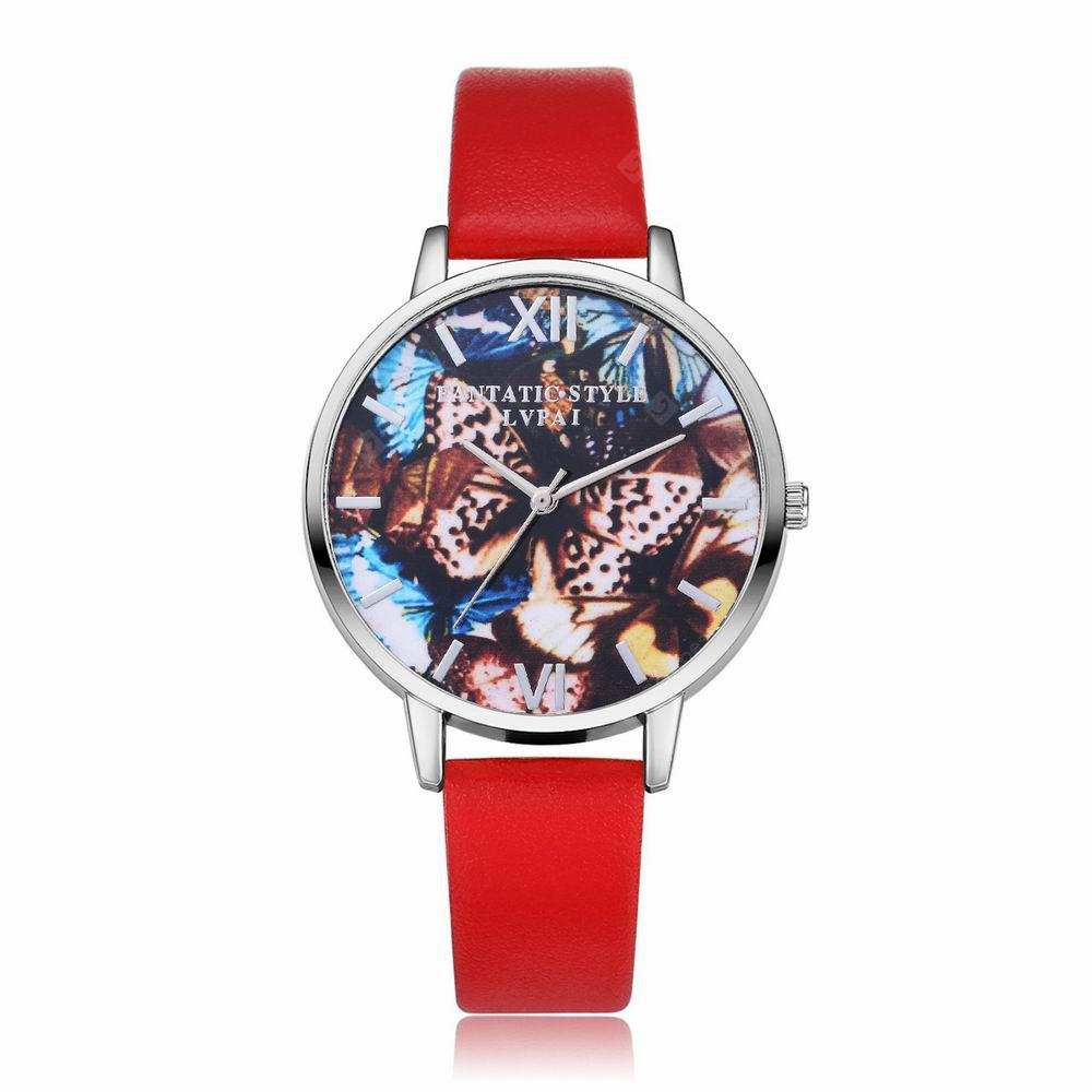 Lvpai P225-S Women Leather Band Flowers Dial Wrist Watch