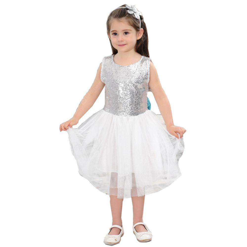 Girls Backless Sequins Design Dress