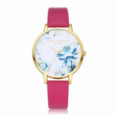 Lvpai P226-G Women Fashion Flowers Dial Leather Band Quartz Watch maikes watch accessories 16mm 18mm 20mm 22mm watch band genuine leather watch strap fashion green for gucci women watchbands
