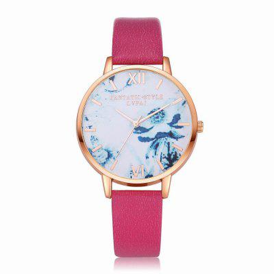 Lvpai P226-R Women Fashion Flowers Dial Leather Band Quartz Watch maikes watch accessories 16mm 18mm 20mm 22mm watch band genuine leather watch strap fashion green for gucci women watchbands