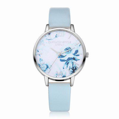 Lvpai P226-S Women Fashion Flowers Dial Leather Band Quartz Watch maikes watch accessories 16mm 18mm 20mm 22mm watch band genuine leather watch strap fashion green for gucci women watchbands