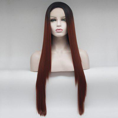 14 - 24 inch Long Straight Orangered Color Heat Resistant Synthetic Hair Lace Front Wigs for Women