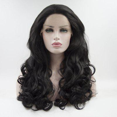 16 - 24  inch Black Long Curly Heat Resistant Lace Front Synthetic Hair Wigs for Women
