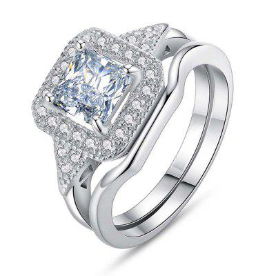 Jewelry 925 Sterling Silver Sapphire Wedding Engagement Ring