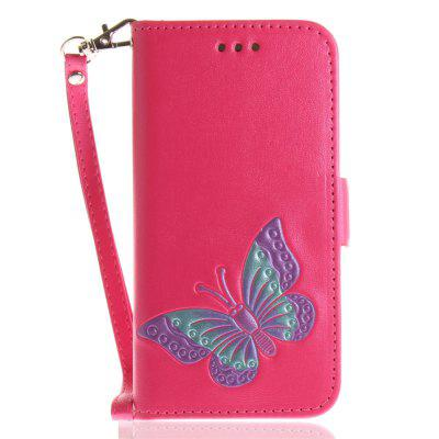Cover Case for iPhone 7 / 8 Hand Draw A Butterfly PU+TPU Leather with Stand and Card Slots Magnetic Closure butterfly bling diamond case