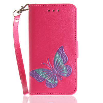 Cover Case for iPhone 5 / 5S / SE Hand Draw A Butterfly PU+TPU Leather with Stand and Card Slots Magnetic Closure free shipping new 10 1 original stand magnetic leather case cover for lenovo ibm thinkpad 10 tablet pc with sleep function