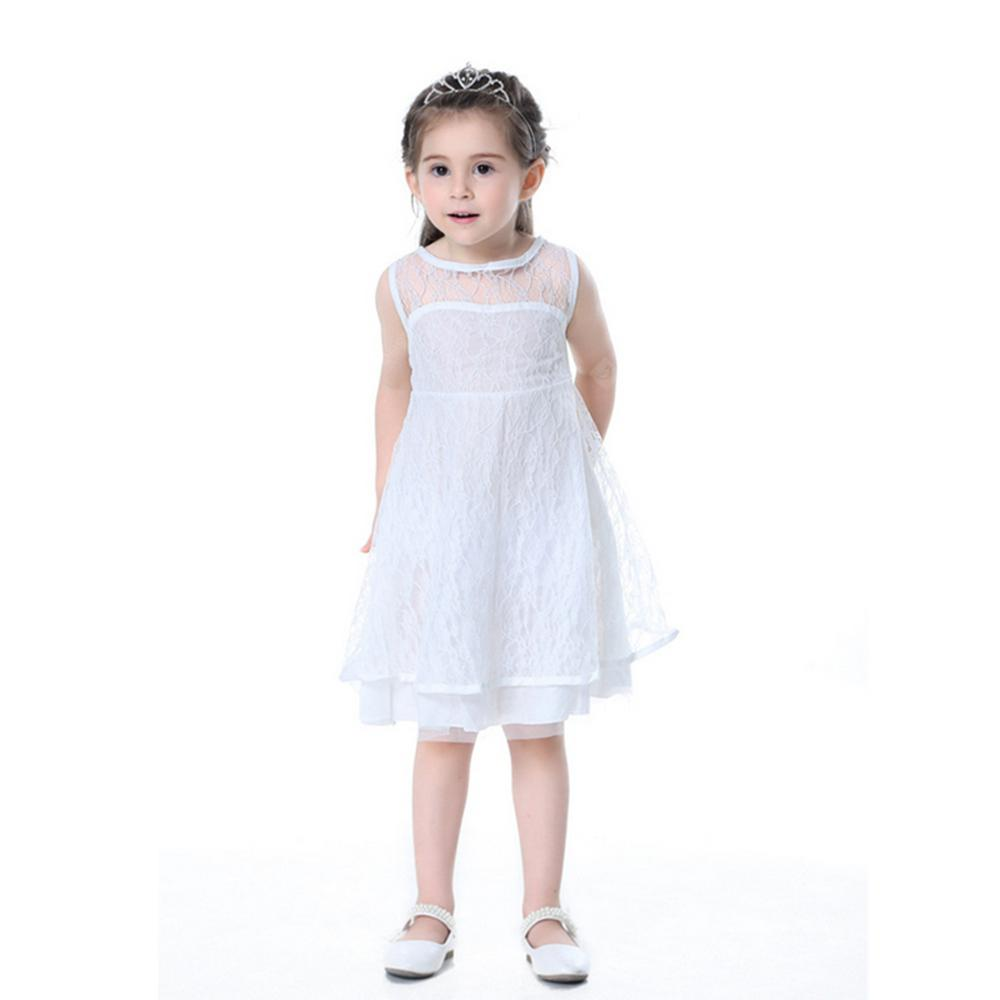 The New Girl White Lace Openwork Halter V Word Princess Dress
