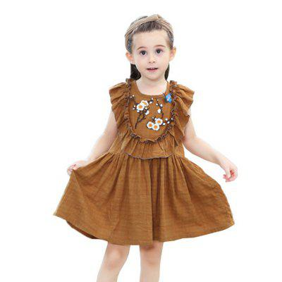 New Girl Embroidered Lotus Leaf Edge Butterfly Dress