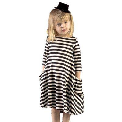 New Black and White Striped Parent-Child Dress