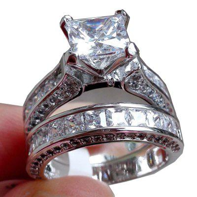 2in1 Womens Vintage White Sapphire Diamond 925 Sterling Silver Engagement Wedding Band Ring Set