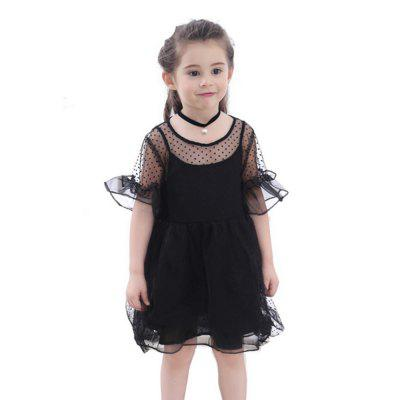 New Wave Point Fluffy Dress for Girl